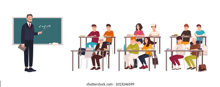 Pupils sitting at desks in classroom, demonstrating good behavior and attentively listening to teacher standing beside chalkboard and explaining lesson. Flat cartoon characters. Vector illustration.