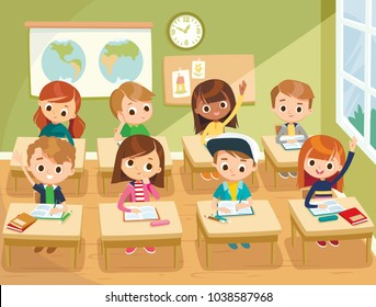 Pupils study in the classroom