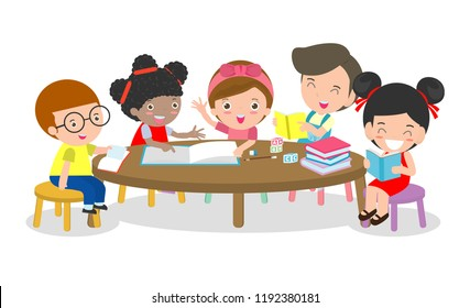Pupils study in the classroom, Boys and girls sitting around round table, children reading books and discuss them, Multiracial kids creative activity,Vector illustration