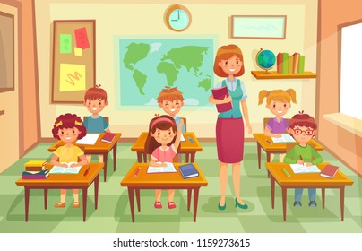 Pupils and teacher in classroom. School pedagogue teach geography lesson with map and globe to pupil kids character. Schools lessons education at class interior cartoon vector illustration