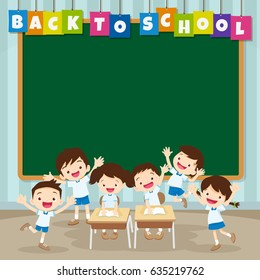 pupils working at desk together at the elementary school.Can be used for web banner, backdrop, ad, promotion.Back to school kids,education concept