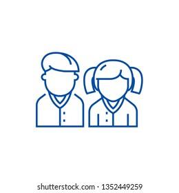 Pupils,students,scholar line icon concept. Pupils,students,scholar flat  vector symbol, sign, outline illustration.