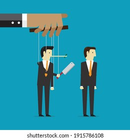 Puppet and business hijacking, Vector illustration in flat style