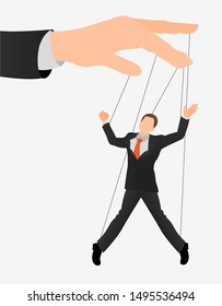 Puppet businessman in an empty place leaded by a huge hand. Command, Control, Human, Manipulate, Manipulation flat icon.