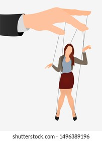 Puppet businesswoman in an empty place leaded by a huge hand. Command, Control, woman, Manipulate, Manipulation flat icon.