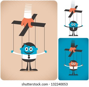 Puppet: Concept illustration with puppet. It is in 3 versions. No transparency and gradients used.
