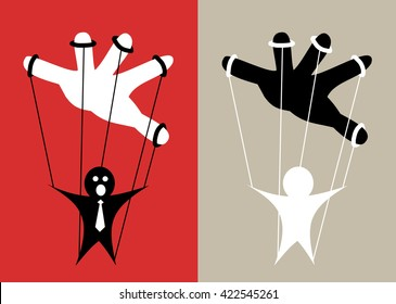 Puppet is controlled by hand - hidden power gives order. Metaphor of puppet state, manipulation, foreign or business supremacy, lobby, plot, corruption and conspiracy theory of New World Order
