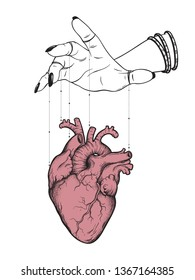 Puppet masters hand controls human heart isolated. Sticker, print or blackwork tattoo hand drawn vector illustration