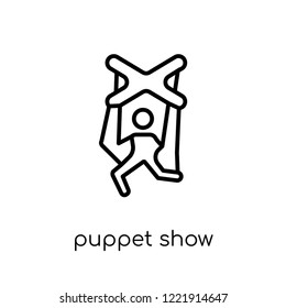 puppet show icon. Trendy modern flat linear vector puppet show icon on white background from thin line Entertainment collection, outline vector illustration