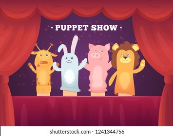 Puppet show. Red curtains theatre performance for kids stage with socks toys for hands cartoon background