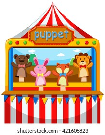 Puppet show and stage illustration
