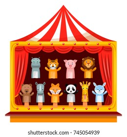 Puppet show theatre. Kid attraction, entertainment and fun play with puppet performers. Vector flat style cartoon illustration isolated on white background