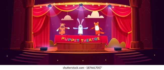 Puppet theater on stage, funny dolls perform show for children on scene with red curtains, stairs and illumination. Hand toys dog, rabbit and fox theatrical performance, Cartoon vector illustration