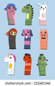 Puppets made of socks Set with nine different cute puppets in different shape and colors vector illustration cartoon