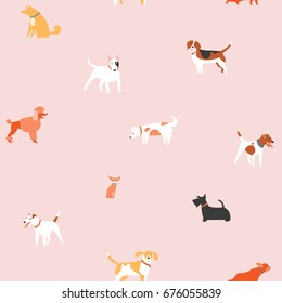 Puppies dog seamless pattern in vector. Cute pet illustration in vector