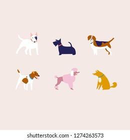 Puppies dog in vector. Breed of dogs illustration in vector