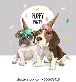 Puppies Pug and Beagle in a Party Top Hat. Vector illustration.