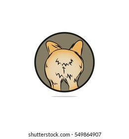 Puppy From Back View Cartoon or Dog Butt. Isolated.