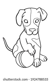 Puppy with ball. Coloring book for kids.
