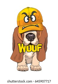 Puppy Basset Hound in a yellow cap with angry smiley. Vector illustration.
