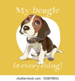 Puppy Beagle in a collar on a yellow background. Vector illustration.