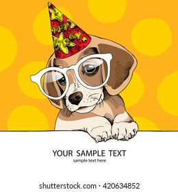 Puppy Beagle in a glasses and in a party hat. Vector illustration.