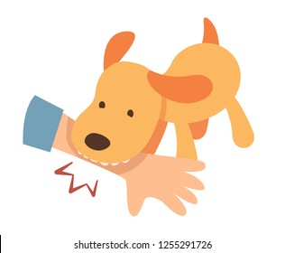 puppy biting hand of  owner. bad behavior of dogs