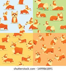 Puppy corgi dig pattern set. Cartoon illustration of puppy corgi dig vector pattern set for web design