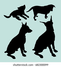 Puppy and Doberman pet dog animal silhouette. Good use for symbol, web icon, mascot, sign, sticker design or any design you want.