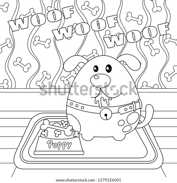 Puppy Dog Bone Food Bowl Vector Stock Vector Royalty Free 1279326001