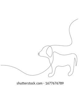 Puppy dog line drawing vector illustration