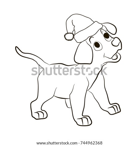 the puppy in the hat of santa claus smiles animals coloring pages cartoon