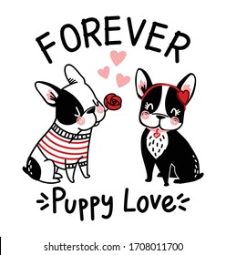 puppy love. vector graphic tees design