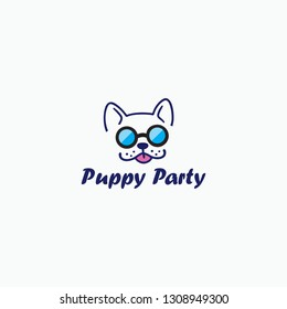 PUPPY PARTY is a fun and cute dog logo stylish in appearance with glasses