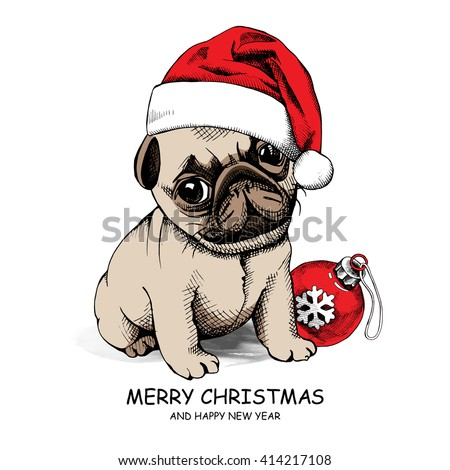 4185dd75569 Puppy Pug in a Santa s hat and with Christmas toy ball. Vector illustration.