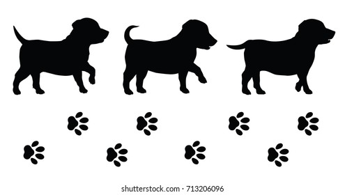 Puppy silhouettes and tracks. Isolated background vector illustration.