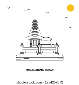 PURA ULUN DANU BRATAN Monument. World Travel Natural illustration Background in Line Style