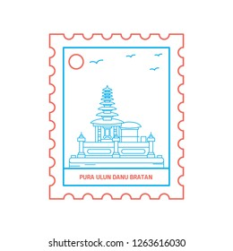 PURA ULUN DANU BRATAN postage stamp Blue and red Line Style, vector illustration