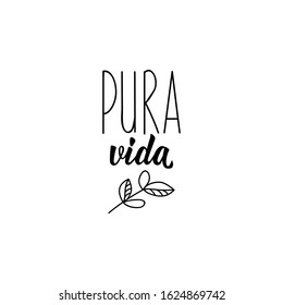 Pura vida. Lettering. Translation from Spanish - Pure life. Element for flyers, banner and posters. Modern calligraphy