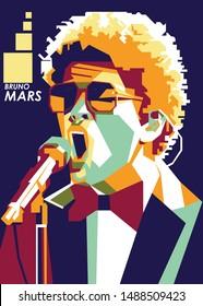 PURBALINGGA, INDONESIA, AUGUST 27, 2019, Bruno Mars singing out loud in pop art illustration