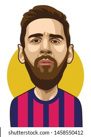 Purbalingga, Indonesia - JULY 23, 2019: Lionel Messi  vector caricature on yellow circle