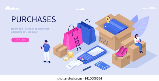 Purchase and delivery concept. Can use for web banner, infographics, hero images. Flat isometric modern vector illustration.