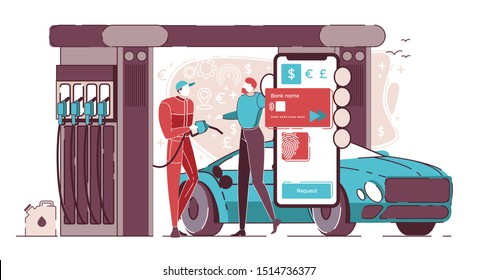 Purchase Fuel with Credit Card on Mobile Phone Flat Cartoon Vector illustration. Worker in Uniform Filling up Fuel into Car at Gas Station while Vehicle Owner Standing Nearby. Refueling Transport.