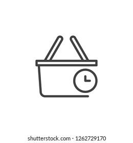 Purchase history outline icon. linear style sign for mobile concept and web design. Shopping basket and clock time simple line vector icon. Symbol, logo illustration. Pixel perfect vector graphics