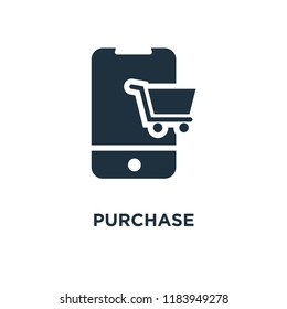 Purchase icon. Black filled vector illustration. Purchase symbol on white background. Can be used in web and mobile.