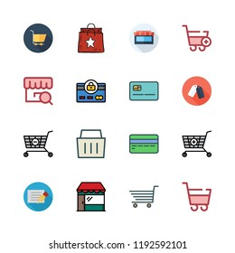purchase icon set. vector set about carts, shopping basket, supermarket and store icons set.