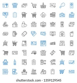 purchase icons set. Collection of purchase with ticket, trolley, receipt, cashier, supermarket, online shopping, online shop, credit card. Editable and scalable purchase icons.