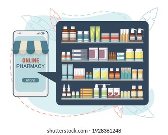 Purchase medicines online using your phone. Vector illustration