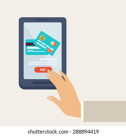 Purchase online, payment by credit card in an e-commerce concept, vector illustration