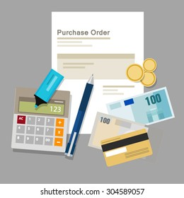purchase order document paper money company procurement